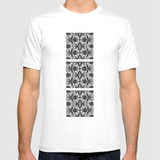 Black Damask  SMALL Mens Fitted Tee White