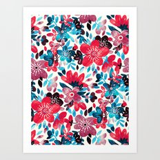 Happy Red Flower Collage Art Print
