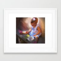 Baby Reads Bible Framed Art Print