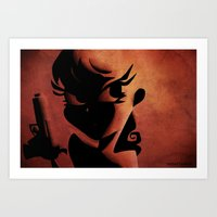 Girl With Gun Art Print