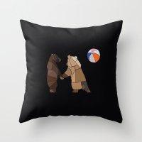 Puckish Bears Throw Pillow