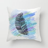 zentangle doodle watercolor feather Throw Pillow
