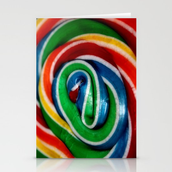 Swirl Rainbow Lollipop Stationery Card