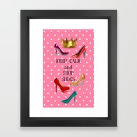 Keep Calm & Shop Shoes Framed Art Print