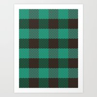 Pixel Plaid - Glacier Melt Art Print