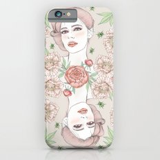 Woman with flowers and beetles Slim Case iPhone 6s