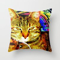 Psychedelic Cat Throw Pillow