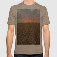 Corn Maze Sunset Mens Fitted Tee Tri-Coffee SMALL