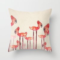 transmogrified flamingo colony Throw Pillow