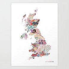 United Kingdom map flowers Art Print