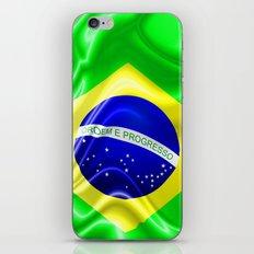 Brazil Flag Waving Silk Fabric iPhone & iPod Skin