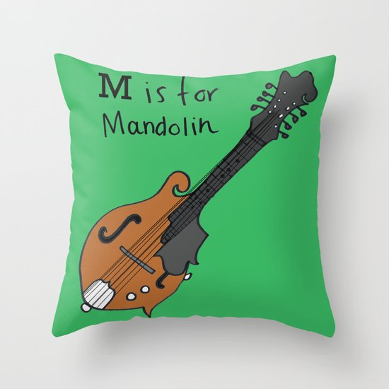 M is for Mandolin Throw Pillow