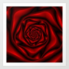 Rose Spiral in Black and Red Art Print