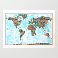 World Stamp Map Art Print