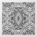Elegant Black White Floral Lace Damask Pattern Canvas Print