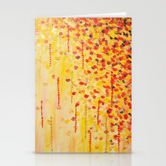 WHEN IT FALLS Bold Autumn Winter Leaves Abstract Acrylic Painting Christmas Red Orange Gold Gift Stationery Card