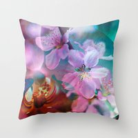 Double Flowers Throw Pillow