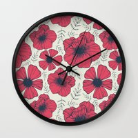 Raspberry Flowers Wall Clock