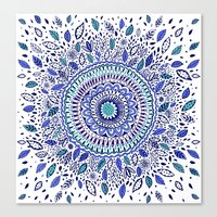 Indigo Flowered Mandala Canvas Print