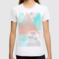 Watercolor Triangles Womens Fitted Tee Ash Grey SMALL