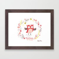 Think Happy, Be Happy Owl Print Framed Art Print