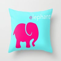 Pink Elephant Throw Pillow