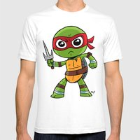 TMNT Raphael Mens Fitted Tee White SMALL