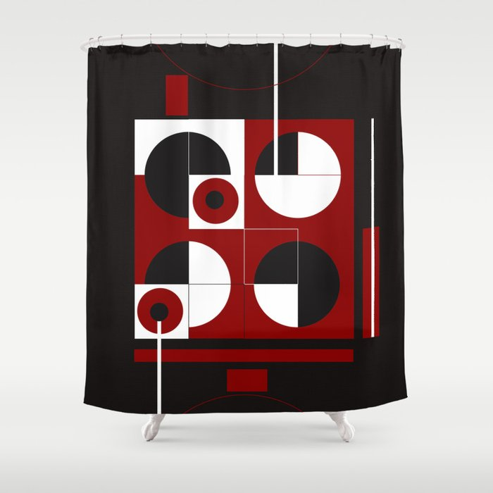 Geometric Red White Black 1 Shower Curtain By ViviGonzalezArt Society6