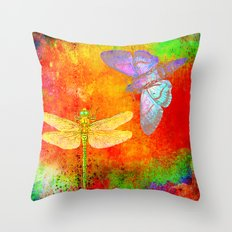 The Dragonfly and the Butterfly Throw Pillow