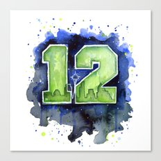 12th Man Seahawks Seattle Go Hawks Art Canvas Print