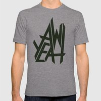 AW YEAH Mens Fitted Tee Tri-Grey SMALL