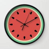 Watermelon Clock Triptyc… Wall Clock