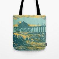Vintage Huntington Beach Poster Tote Bag