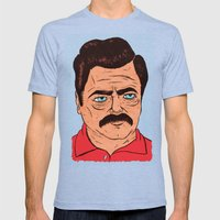 Ron Swanson (color) Mens Fitted Tee Tri-Blue SMALL