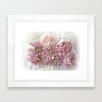 Cottage Chic Pink Peonies and Carnations Framed Art Print