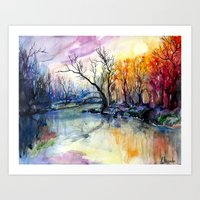 Sunset In The Forest Art Print