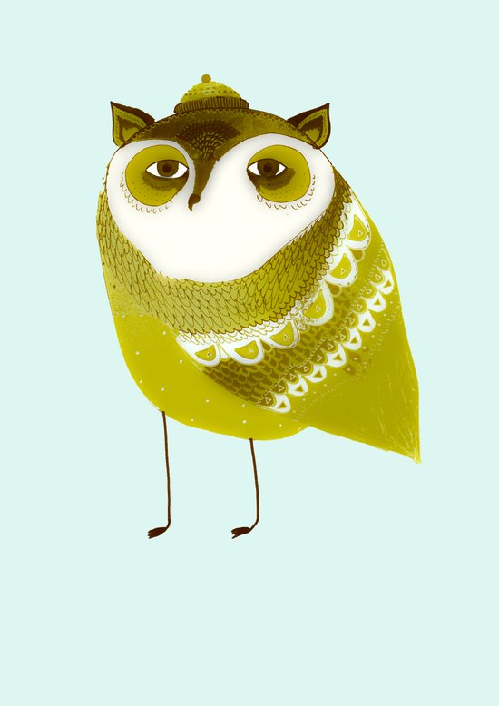 Golden Owl illustration  Canvas Print