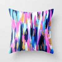Spring Golden - Pink and Navy Abstract Throw Pillow