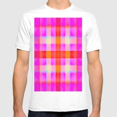 Pink Reddish Plaid Mens Fitted Tee White SMALL