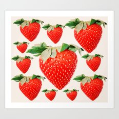 strawberry explosion Art Print