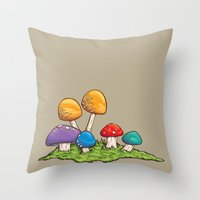 Mushrooms (Colors) Throw Pillow