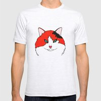 Orange Fluff - Calico Cat Mens Fitted Tee Ash Grey SMALL