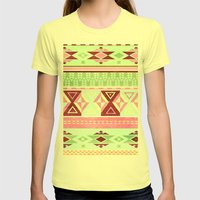 Neon Aztec Womens Fitted Tee Lemon SMALL