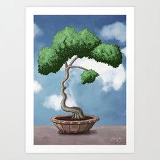 'Bonsai choose own way grow because root strong' (Miyagi version) Art Print