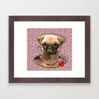 A little pug of tea Framed Art Print