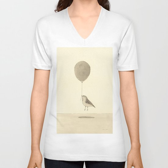 bird with a balloon V-neck T-shirt