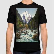 Mountains Forest Rocky River Mens Fitted Tee Black SMALL