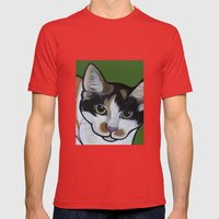 Callie the Calico Mens Fitted Tee Red SMALL