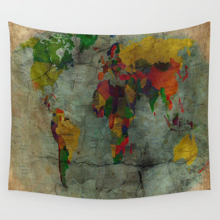 World map Wall Tapestry by Ace Of Spades Society6