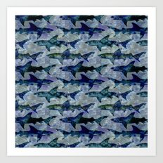 Deep Water Sharks Art Print